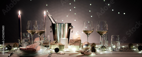 Christmas Eve Party Table With White Wine Glass And Glitter Season S