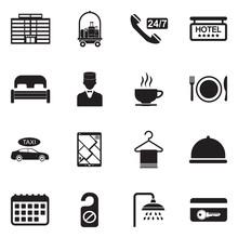 Hotel Icons. Black Flat Design. Vector Illustration.