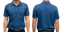 Blue Blank Polo T-shirt On Human Body For Graphic Design Mock Up