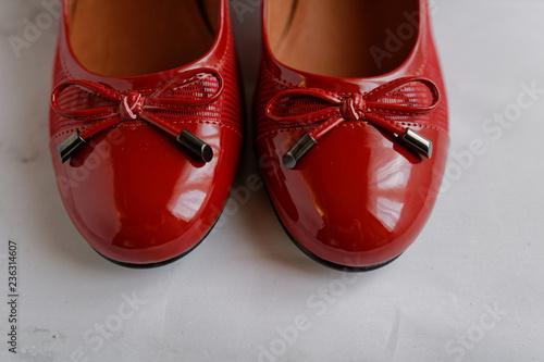 Ballerines rouges en cuir verni