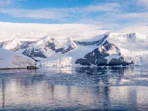 Floating brash ice and glaciers of Lester Cove and Neko Harbor, Andvord Bay, Arctowski Peninsula, Antarctica