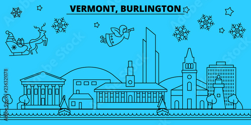 Fototapeta  United States, Burlington winter holidays skyline