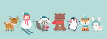 Christmas Characters - Animals, Snowmen, Santa Claus.