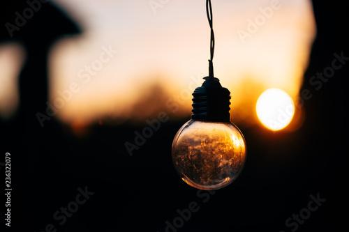 Fairy light and blur of sun