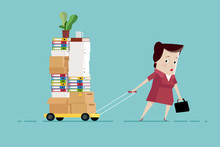 Tired Woman Carries Documents On A Trolley: Too Much Paperwork