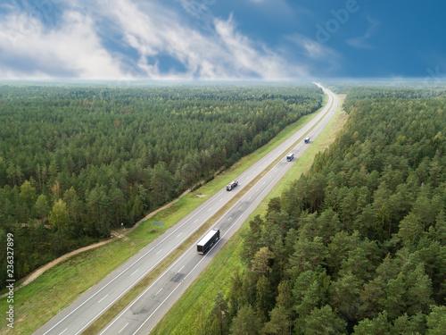 Cuadros en Lienzo aerial photo highway road autobahn trucking, car rides on the highway