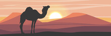 Silhouette. One-humped Camel In The Desert With Sand Dunes. Wildlife Of Africa. Sahara Desert. Realistic Vector Landscape