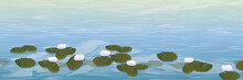 Water. A Pond With White Water Lilies. Wildlife Of America And Europe. Realistic Vector Landscape