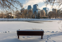 Snowy View Of Calgary Downtown In Winter
