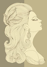 Vector Hand Drawn Portrait In Profile Of Elegant Lady In Retro Style. Girl With Wavy Hair With A Hairpin In The Form Of Leaves. Art Deco Style. Decorated Coloring Page A4 Size.
