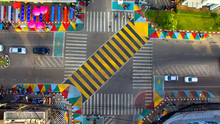 Udon Thani,Thailand – November 29, 2018 : Udon Thani,A Major City In Country's Northeast,Unveiled The Colorful New Crossing,meant To Mimic That In The Popular Tokyo Shopping District.