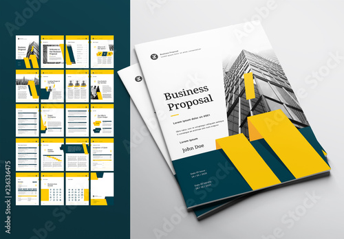 Business Proposal Layout With Teal And Yellow Accents Buy This