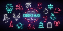 Christmas And New Year Neon Signs. Winter Holiday Symbols. Vector Illustration.