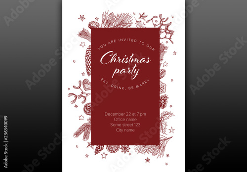 Christmas Party Invitation Layout With Maroon Illustrations