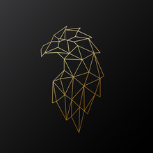 Golden Polygonal Eagle Illustration Isolated On Black Background. Geometric Animal Emblem. Vector Illustration.