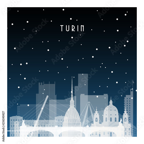Winter night in Turin. Night city in flat style for banner, poster, illustration, background.