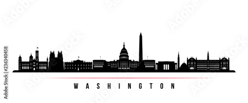 Washington city skyline horizontal banner. Black and white silhouette of Washington city, Netherlands. Vector template for your design. #236340458