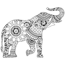 An Elephant With A Raised Trunk On A White Background. Silhouette Decorated With Indian Patterns. Symbol Of Stability And Invulnerability.