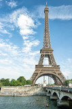 Fototapeta Fototapety z wieżą Eiffla - Seine river Eiffel tower Paris France