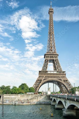 Seine river Eiffel tower Paris France - 236347623