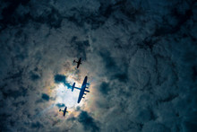 Silhouetted WWII Planes, Battle Of Britain Memorial Flight, RAF Royal Air Force, Sky, Airplane, Plane, Aircraft, Flight, Fly, Blue, Flying, Clouds, Travel, Air, Transportation, Cloud, Aeroplane