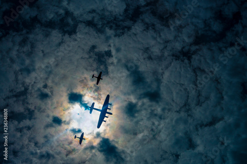 Fotografie, Obraz Silhouetted WWII Planes, Battle of Britain Memorial flight, RAF Royal Air Force,