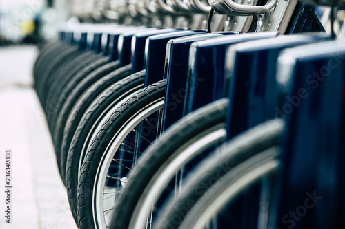 фотография A row of Santander hire bicycles parked up in London