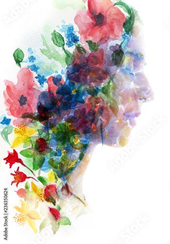 malarstwo-profil-kobiety-w-podwojnej-ekspozycji-kobieca-twarz-i-wlosy-z-namalowanych-kwiatow