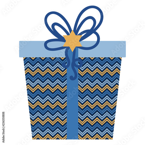 Hanukkah Gift Present Wrapped In Chevron Design With Ribbon Bow