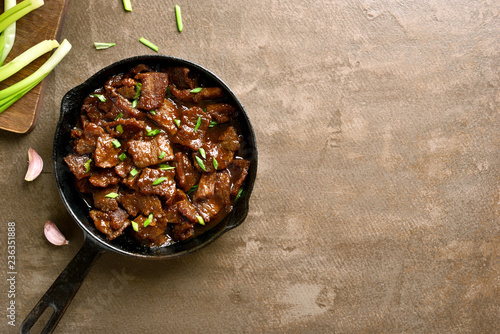 Stewed beef in soy sauce with spices Canvas Print