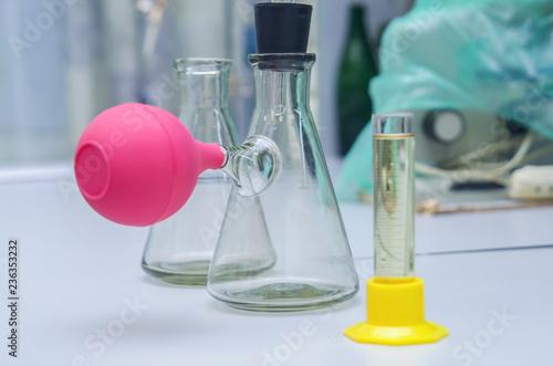 Valokuva group object of laboratory limpid glassware, horizontal photo
