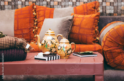 Interior Of An Oriental Decorated Room, Moroccan Style in living room. Moroccan Style in living room