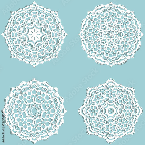 Set of four beautiful lace snowflakes made in vector Canvas-taulu