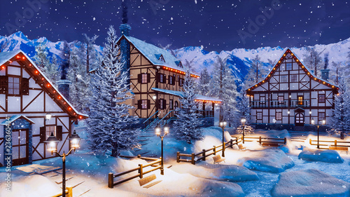 Fotografia  Cozy snow covered alpine mountain town with traditional half-timbered rural houses and christmas lights at winter night during snowfall