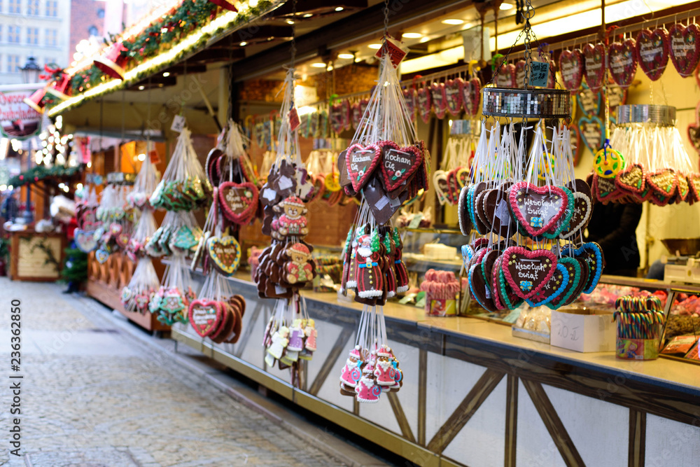 One of the most traditional sweet treats which are gingerbread pictured at the Christmas Market in Wroclaw