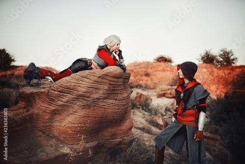 Photo  wild hunt,witcher,cosplay,landscape,sky,peak,rock,trekking,view,outdoors,climbin