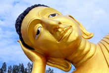 Lying Golden Buddha In The Temple Wat Sri Sunthon, Phuket, Thailand, Asia