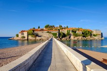 Dam To The Island Sveti Stefan, Near Budva, Adriatic Coast, Montenegro, Europe