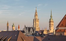 View On Towers, Old And New Town Hall And Church St.Peter, Alter Peter, Munich, Germany, Europe