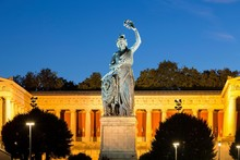 Bronze Statue Bavaria In Front Of Hall Of Fame, Dusk, Theresienwiese, Munich, Germany, Europe