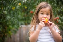 Cute Girl Eating Fresh Organic Peach While Standing At Farm