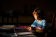 Boy Reading Books While Studying At Home