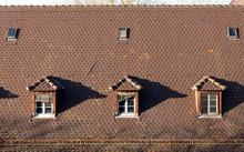 Attic Windows Of Oldtown Building In Strasbourg - France
