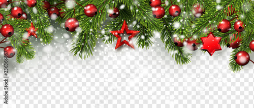 Christmas and New Year banner with fir branches, holly berries and red stars.