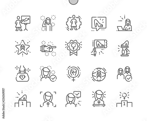 Fotomural Female Leaders Well-crafted Pixel Perfect Vector Thin Line Icons 30 2x Grid for Web Graphics and Apps