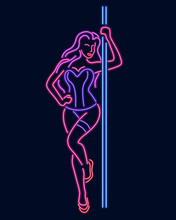 Neon Silhouette Of A Girl At A Pylon