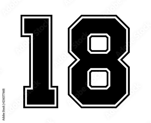 Photo Classic Vintage Sport Jersey Number 18 in black number on white background for american football, baseball or basketball / logos and t-shirt