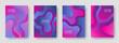 Gradient liquid shapes abstract covers vector collection. Geometric presentation backgrounds design. Organic bubble fluid splash shapes, oil drop molecular mixture concept backdrop. Cover templates.