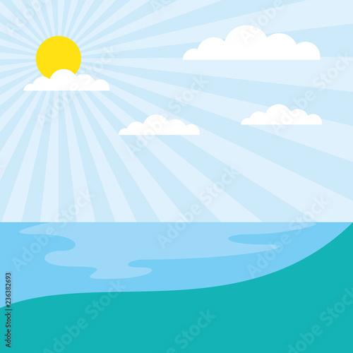 sunny day natural lake landscape
