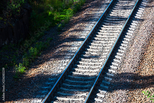 Railway track with a mound of gravel